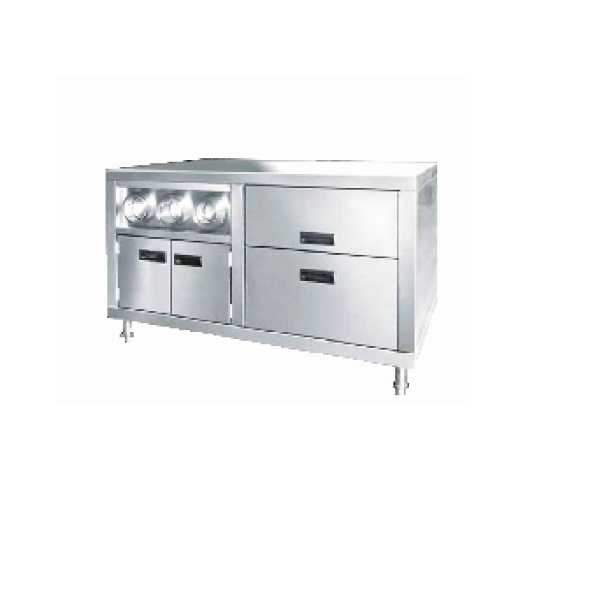 VCI-120 Stainless Steel Working Table Center Island with Cup Dispenser Fast Food Restaurant Equipment