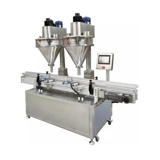 Automatic Double Hoppers Powder Filling Machine with Conveyor for Bottles Two Heads Bottle Filling Machine